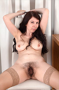 Busty Amateur With Hairy Twat In Stockings
